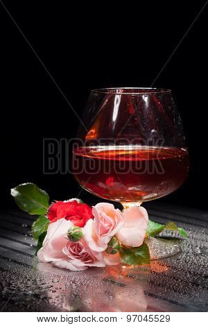 Still Life With Glass And Rose