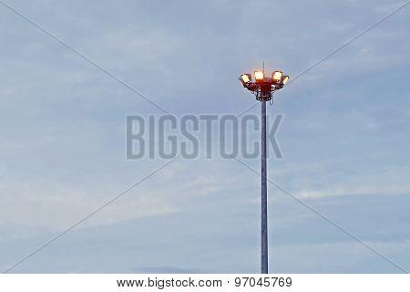 Sport Light Post On  Sky Background