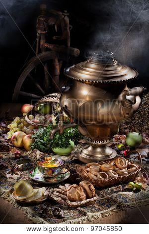 Still Life With Samovar, Fruits, Tea And Spinning Wheel