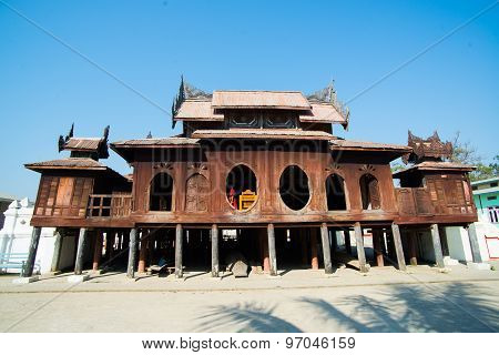 Old Teak Wood Shwe Yan Pyay Monastery in Inle lake, Myanmar