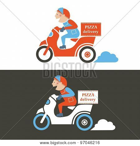 Pizza delivery guy on a scooter. Isolated vector illustration