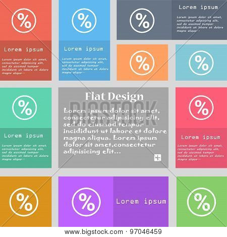 Percentage Discount Icon Sign. Set Of Multicolored Buttons With Space For Text. Vector