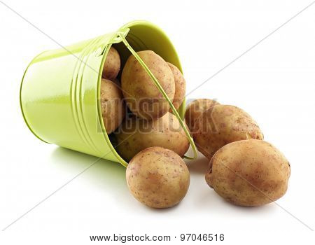Young potatoes in metal bucket isolated on white