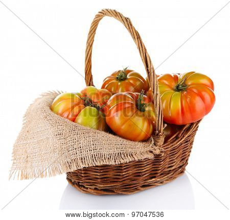 Green tomatoes in basket isolated on white