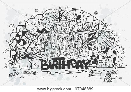 Vector Illustration Of A Hand Drawn Doodles On Theme Birthday