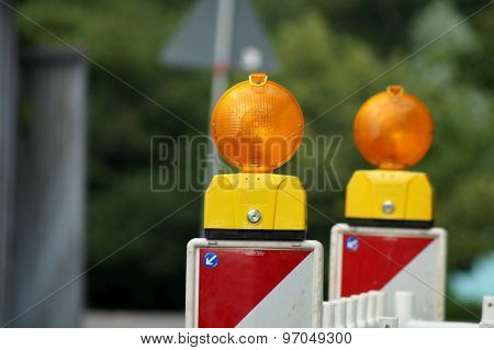 Signal light at a construction sit