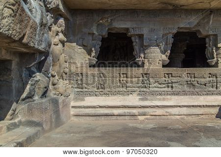 ELLORA, INDIA - 14 JANUARY 2015: Ellora Caves is an archaeological site close to city of Aurangabad. Well known for its monumental caves, Ellora is a World Heritage Site.
