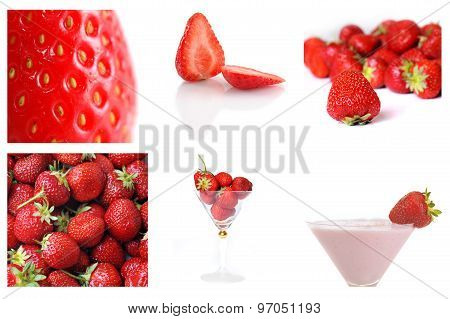 Colage Of Fresh And Tasty Strawbery
