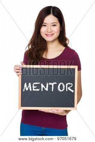 Asian Young woman hold with chalkboard and showing a word mentor