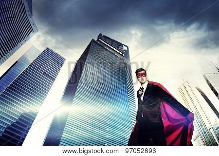 Superhero Businessman Strength Cityscape Cloudscape Concept