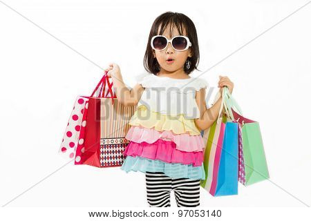 Asian Kid With Shopping Bag