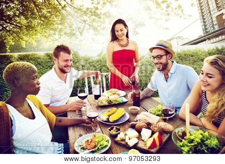 Diverse People Hanging Out Garden Food Concept