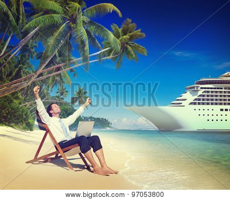 Businessman Relaxation Vacation Outdoors Beach Concept