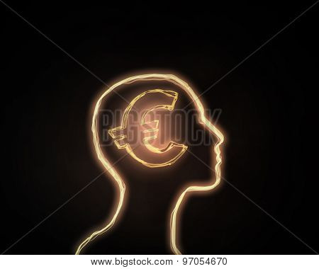 Human head and brain with euro sign on dark background