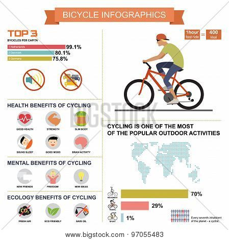 Cycling bicycle infographics with elements and statistic. Vector illustration in flat design.
