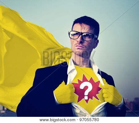 Question Mark Strong Superhero Success Professional Empowerment Stock Concept