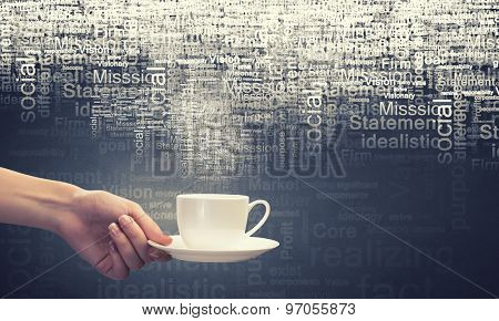 Hand holding coffee cup with speech characters