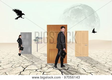 Business people in desert