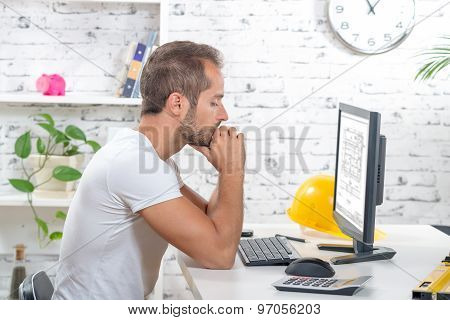 Young Executive Working With His Computer
