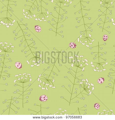 ladybug and cute spring flowers seamless pattern
