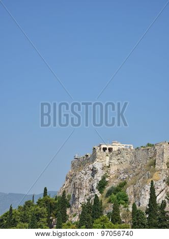 Sideview of the Acropolis in Athens