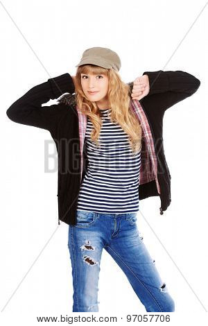 Fashion shot of a modern  teenager girl. Beauty, fashion concept. Isolated over white.