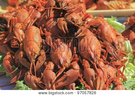 Trading Red Cooked Crayfish On A City Street During The Fair