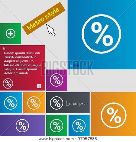 Percentage Discount Icon Sign. Buttons. Modern Interface Website Buttons With Cursor Pointer. Vector