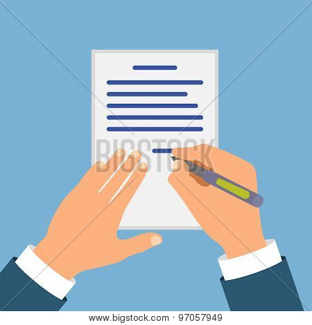Colored Cartooned Hand Signing Contract