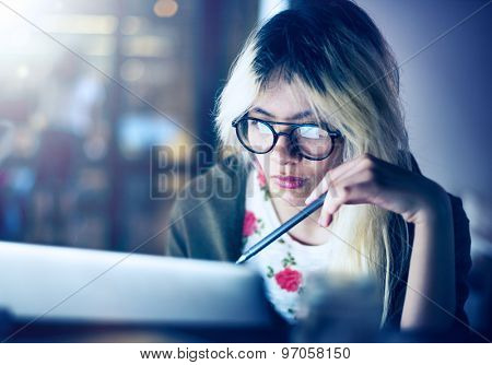 Girl Browsing Searching Computer Concept