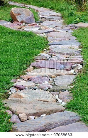 Stone Footpath For Hiking In The Garden