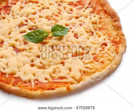 Cheese pizza with basil close up