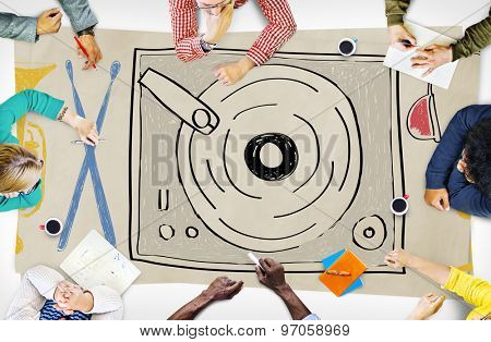Music Multi Media Turntable Entertainment Concept