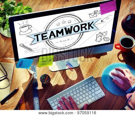 Teamwork Team Collaboration Support Business Planning Concept