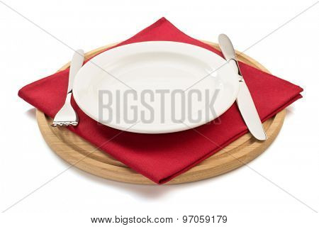 napkin and cutting board on white background