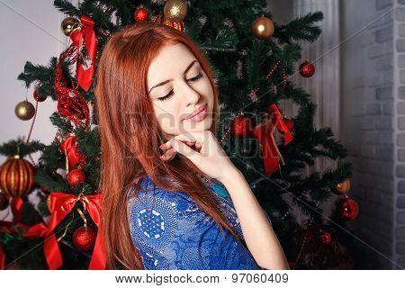 Dreaming near christmas tree