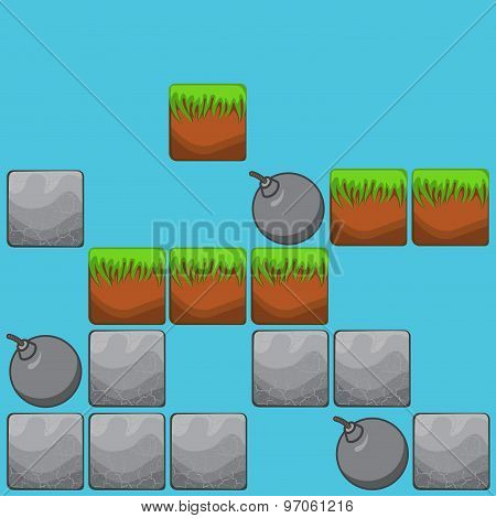 Elements For Web Design And User Interface Of Computer Games: Stone Background Landscape And Bombs