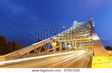 Bridge In Loschwitz At Night, Germany.