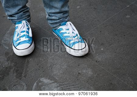 Blue Sneakers, Teenager Feet In Gumshoes