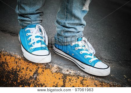 Blue Sneakers, Teenager Feet Stands On Roadside