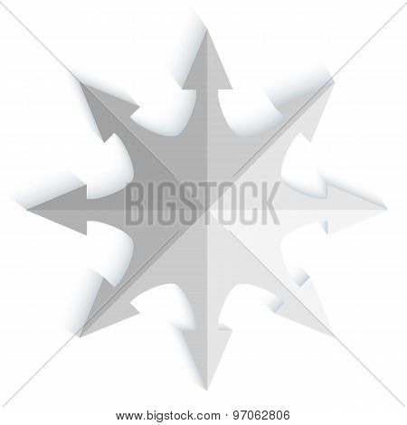 Compass-needle-effect-cut-paper-isolated-on-white-background