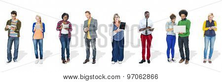 Multiethnic Group of People Using Digital Devices