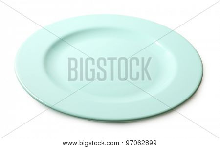 Empty colorful plate isolated on white