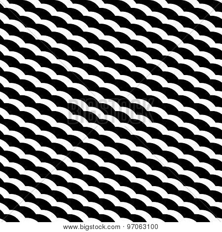 Black And White Geometric Seamless Pattern With Wavy Stripe Stylish, Abstract Background.