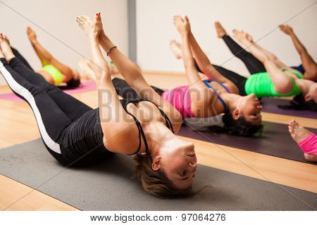 Group Of Women During Yoga Class