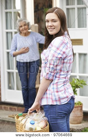 Teenage Girl Doing Shopping For Senior Woman