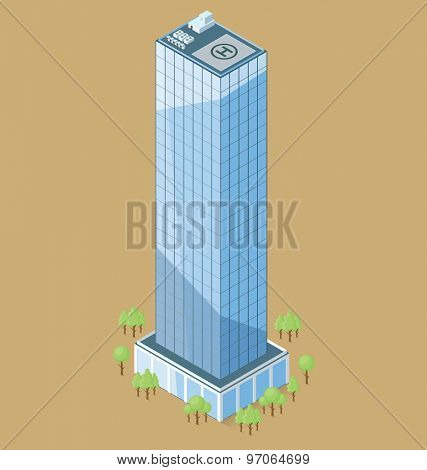 Vector 3d flat isometric office building with trees