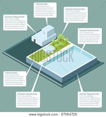 Vector 3d flat isometric office building roof with water pool