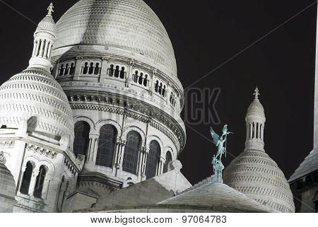 Cupola Of Basilica Sacre-coeur Of Paris At Night