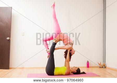 Trying Some Acrobatic Yoga